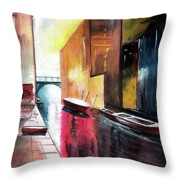 Throw Pillow featuring the painting Venice 1 by Anil Nene