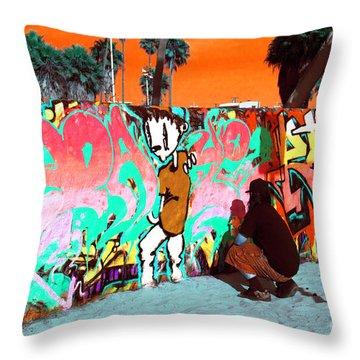 Throw Pillow featuring the photograph Venice Beach Graffiti Pop Art by John Rizzuto