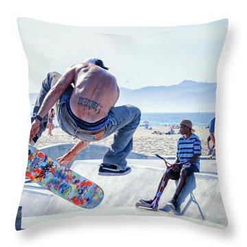 Venice Beach Skater Throw Pillow