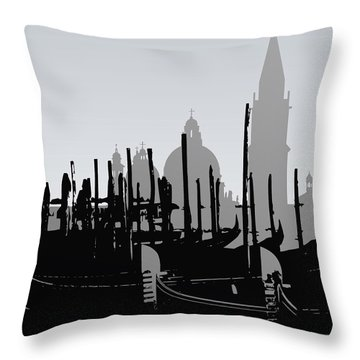 Venice Black And White Throw Pillow