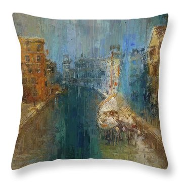 Venice Blue And Yellow Throw Pillow