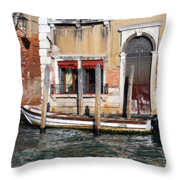 Venice Boat At Home Throw Pillow