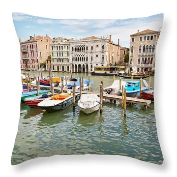 Throw Pillow featuring the photograph Venice Boats by Sharon Jones