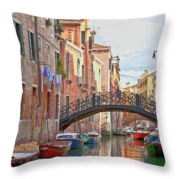 Venice Bridge Crossing 5 Throw Pillow by Heiko Koehrer-Wagner