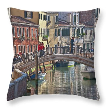 Venice Bridge Crossing 6 Throw Pillow by Heiko Koehrer-Wagner