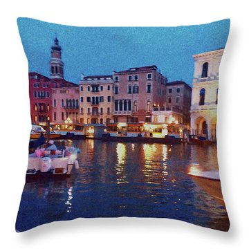 Throw Pillow featuring the photograph Venice By Night by Anne Kotan