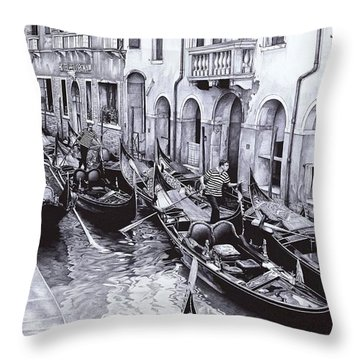 Venice Canal - Ballpoint Pen Art Throw Pillow
