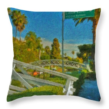 Throw Pillow featuring the photograph Venice Canal Bridge Signs by David Zanzinger