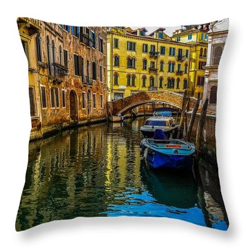 Venice Canal In Italy Throw Pillow