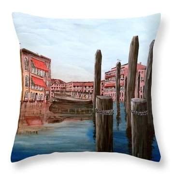 Venice Canal Throw Pillow by Irving Starr