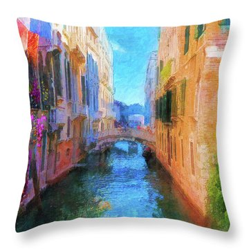 Venice Canal Painting Throw Pillow by Michael Cleere