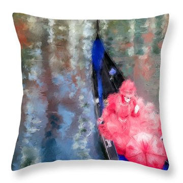 Venice Carnival. Masked Woman In A Gondola Throw Pillow