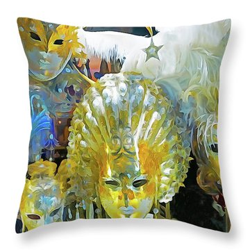 Venice Carnival Masks Throw Pillow