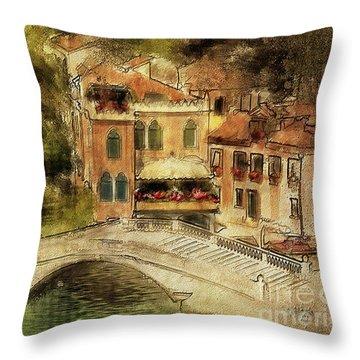 Venice City Of Bridges Throw Pillow by Lois Bryan