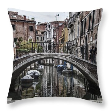 Throw Pillow featuring the photograph Venice Crossing by Shirley Mangini