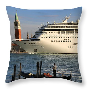 Venice Cruise Ship 2 Throw Pillow by Andrew Fare