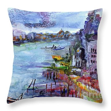 Venice Festivities Travel Italy Watercolor And Ink Throw Pillow