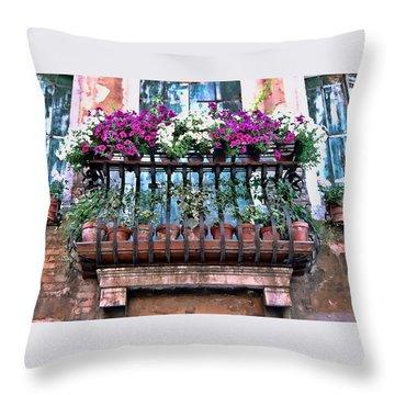 Throw Pillow featuring the photograph Venice Flower Balcony by Allen Beatty