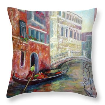 Venice Gondola Ride Throw Pillow
