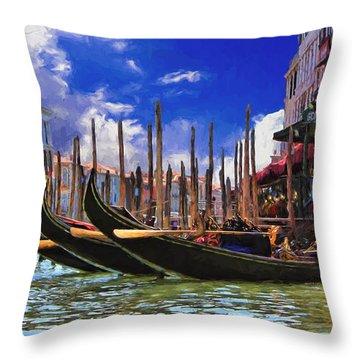 Venice Gondolas Throw Pillow