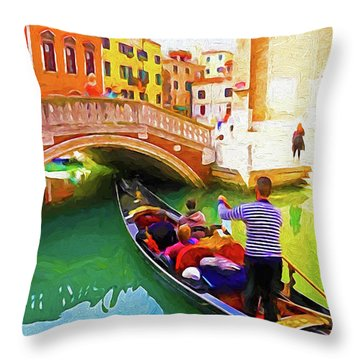 Venice Gondola Series #1 Throw Pillow by Dennis Cox