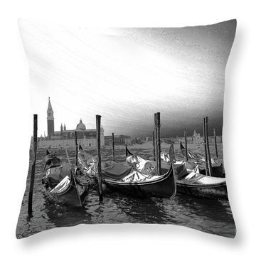 Throw Pillow featuring the photograph Venice Gondolas Black And White by Rebecca Margraf