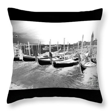 Throw Pillow featuring the photograph Venice Gondolas Silver by Rebecca Margraf