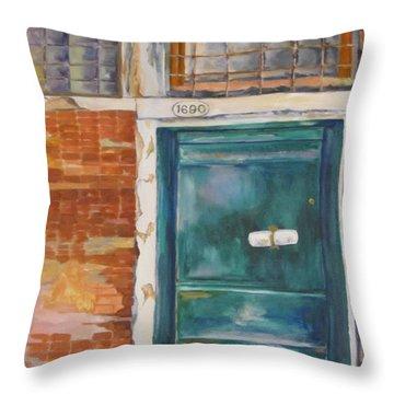 Venice Green Door Throw Pillow
