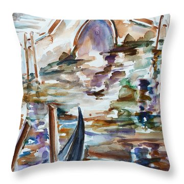Throw Pillow featuring the painting Venice Impression I by Xueling Zou