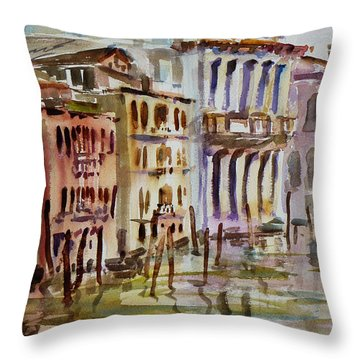 Throw Pillow featuring the painting Venice Impression II by Xueling Zou