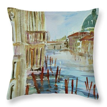 Throw Pillow featuring the painting Venice Impression IIi by Xueling Zou