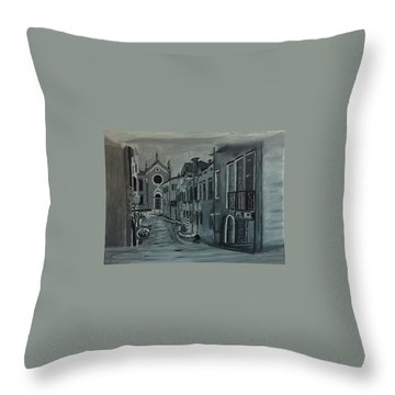 Venice In Grey And White Throw Pillow by Rod Jellison