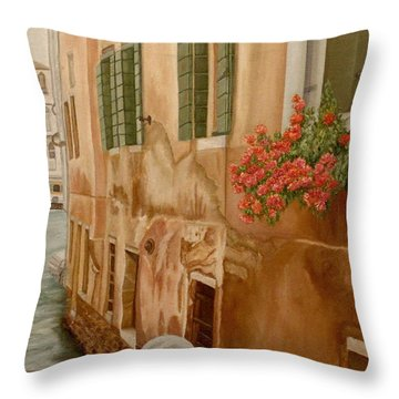Throw Pillow featuring the painting Venice In June by Angeles M Pomata