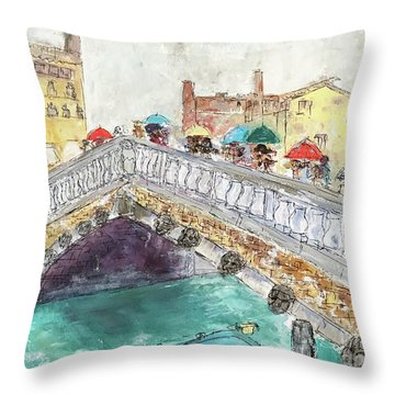 Throw Pillow featuring the painting Venice In The Rain by Barbara Anna Knauf