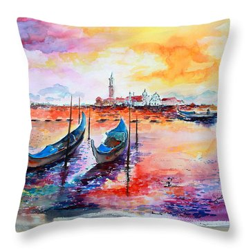 Throw Pillow featuring the painting Venice Italy Gondola Ride by Ginette Callaway