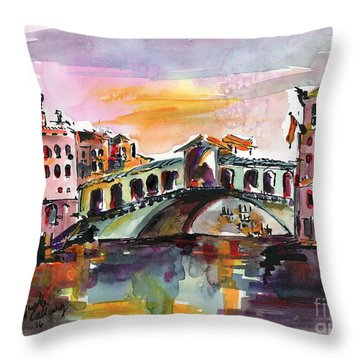 Venice Italy Silence Rialto Bridge Throw Pillow