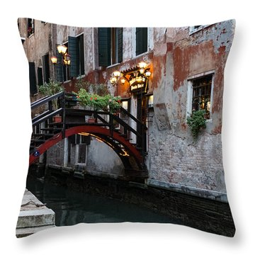 Venice Italy - The Cheerful Christmassy Restaurant Entrance Bridge Throw Pillow