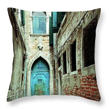 Venice Italy Turquoise Blue Door  Throw Pillow