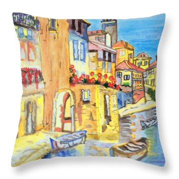 Throw Pillow featuring the painting Venice On A Summer Afternoon by Connie Valasco