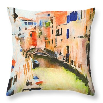 Venice On Waters Throw Pillow