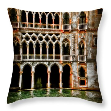 Throw Pillow featuring the photograph Venice Palace  by Harry Spitz