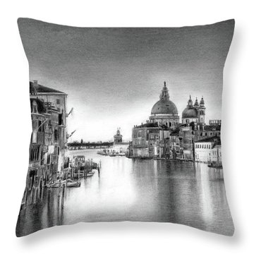 Venice Pencil Drawing Throw Pillow