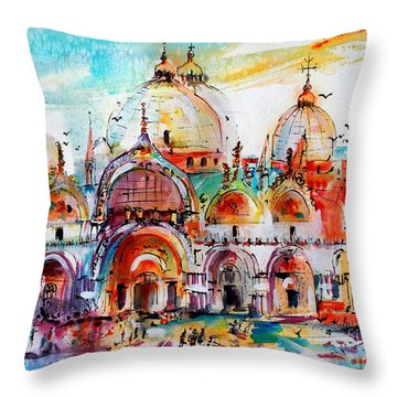 Venice Piazza Saint Marco Basilica Throw Pillow
