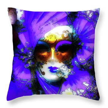 Venice Purple Carnival Mask Throw Pillow