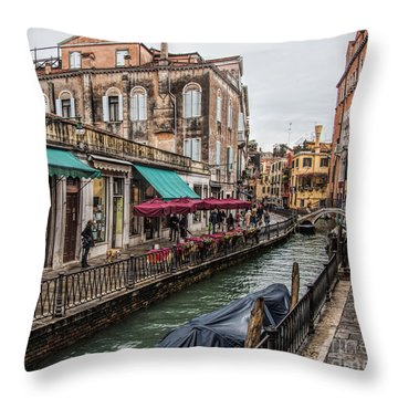 Throw Pillow featuring the photograph Venice 'streets' by Shirley Mangini