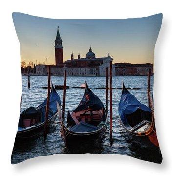 Venice Sunrise With Gondolas Throw Pillow by Evgeni Dinev