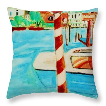 Venice Travel By Boat Throw Pillow