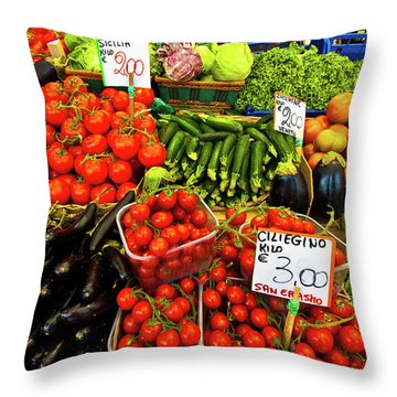 Throw Pillow featuring the photograph Venice Vegetable Market by Harry Spitz