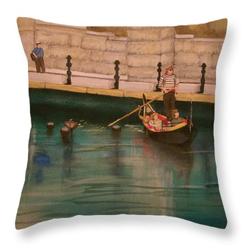 Throw Pillow featuring the painting Venice Via Providence by Lynn Babineau