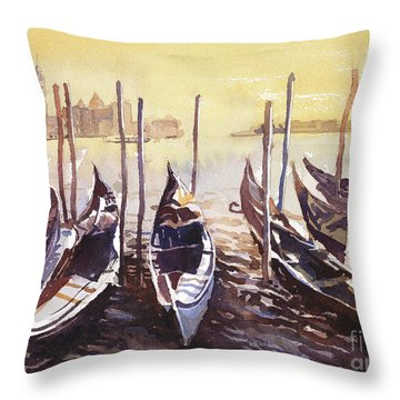 Throw Pillow featuring the painting Venice Watercolor- Italy by Ryan Fox